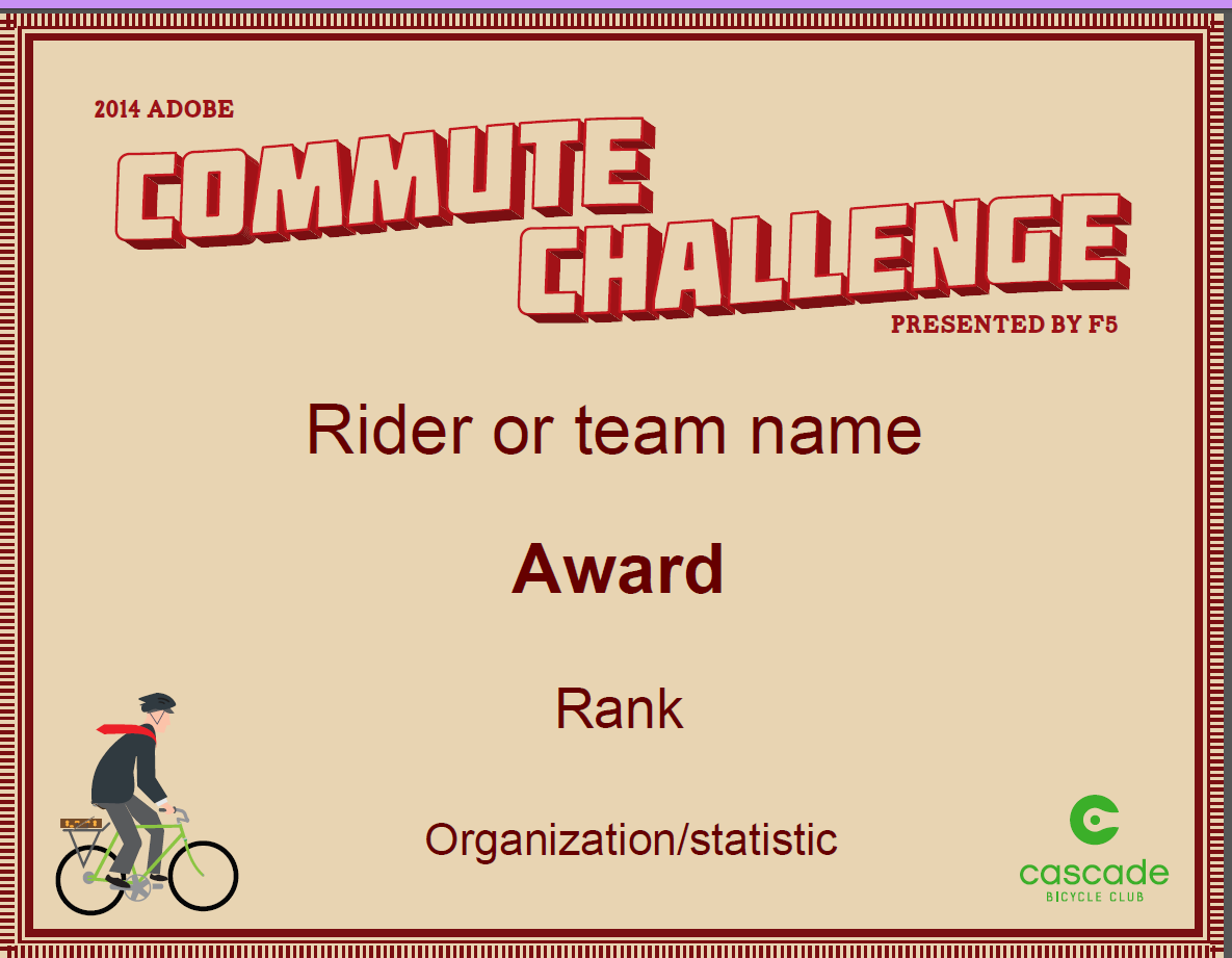 Image of Commute Challenge certificate