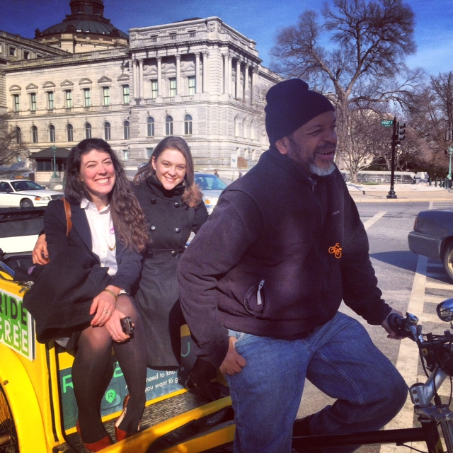Cascade advocacy staffers Taldi and Emily enjoy a pedicab ride in D.C.