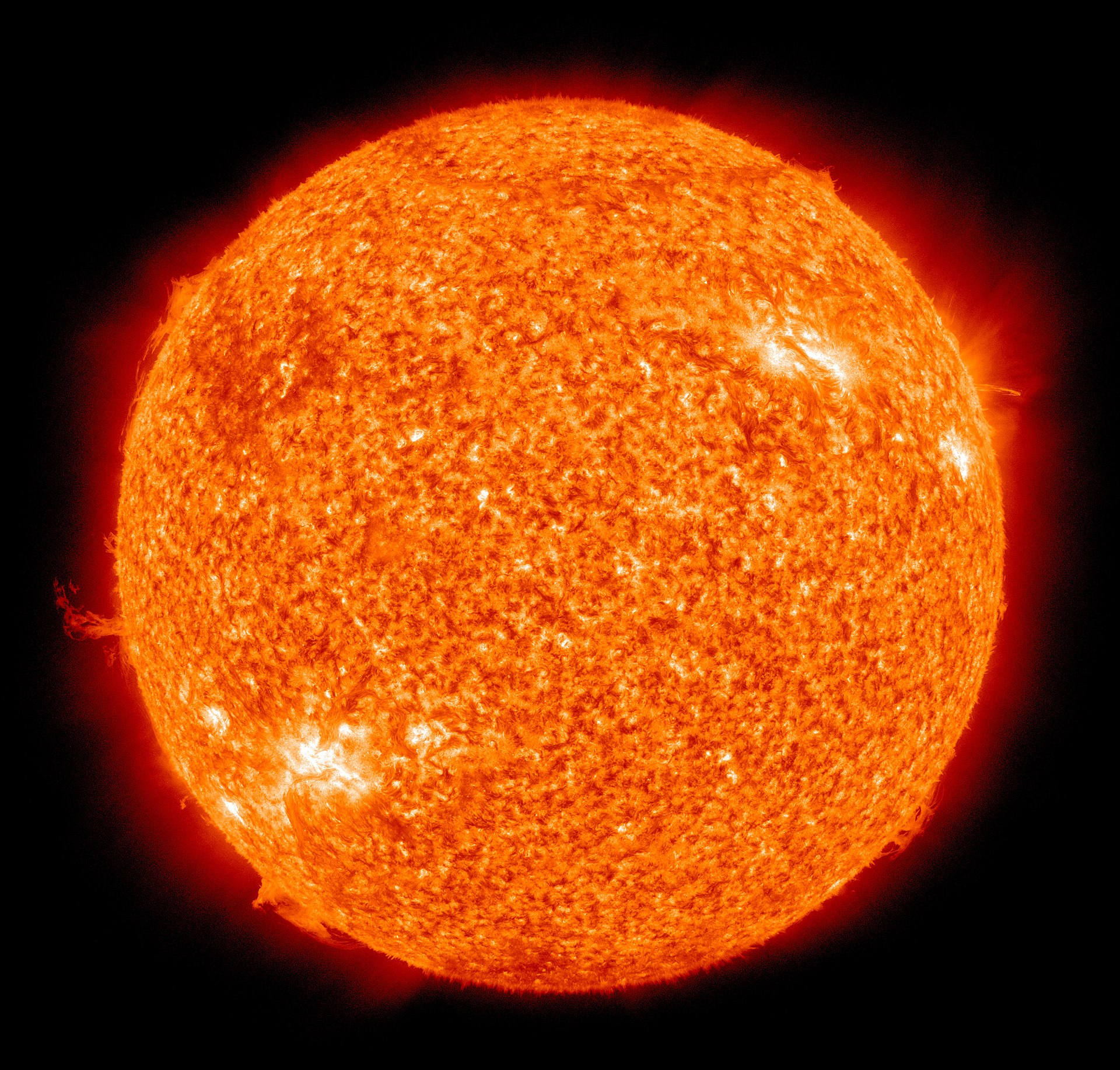 The Sun photographed at 304 angstroms by the Atmospheric Imaging Assembly (AIA 304) of NASA's Solar Dynamics Observatory