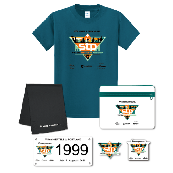 Photo of a t-shirt, cooling towel, patch, sticker, and phone pouch with VSTP logos