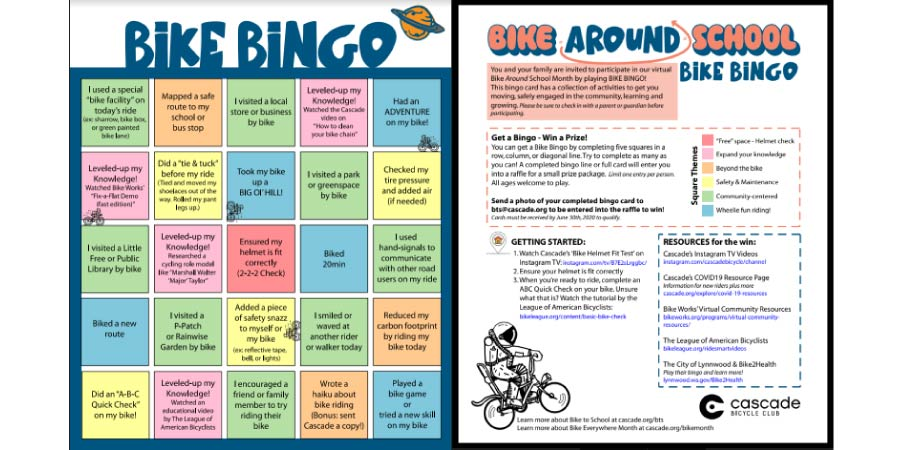 Bike Around School Bingo, Color Version preview