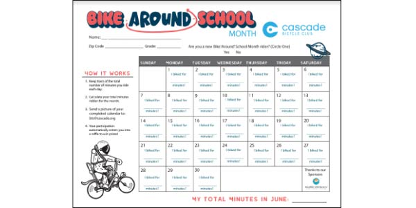 Preview of Bike Around School Challenge Calendar