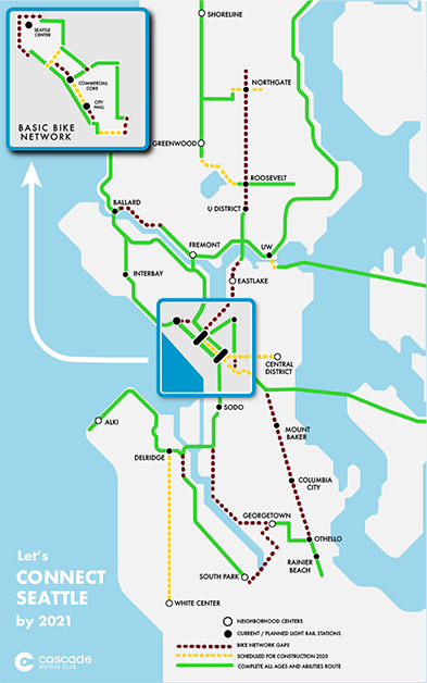 Map of Connect Seattle trails and bike lanes