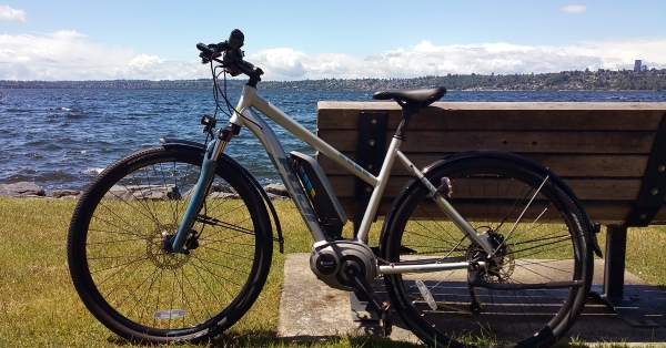 E-bike and the Seattle Skyline