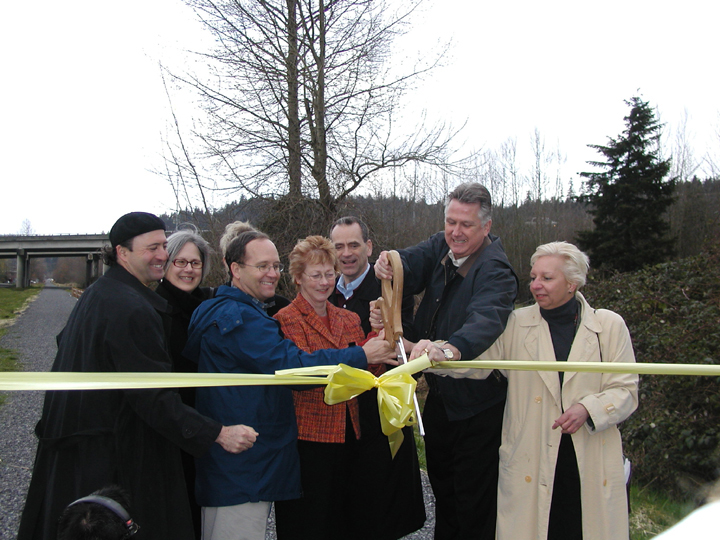 Ribbon cutting on an earlier completed section of trail