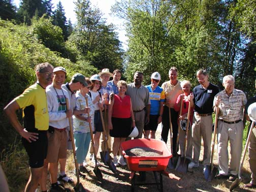 Groundbreaking on an early section of ELST trail