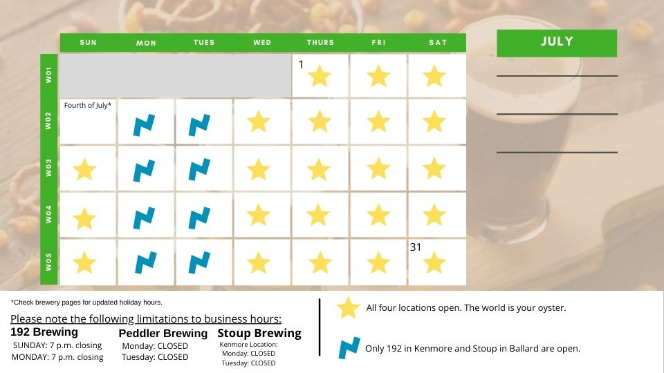 A calendar showing prime times to ride the Do-It-Yourself Bike-n-Brews El Norte
