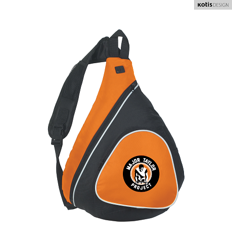 A black and orange sling bag with the circular MTP logo