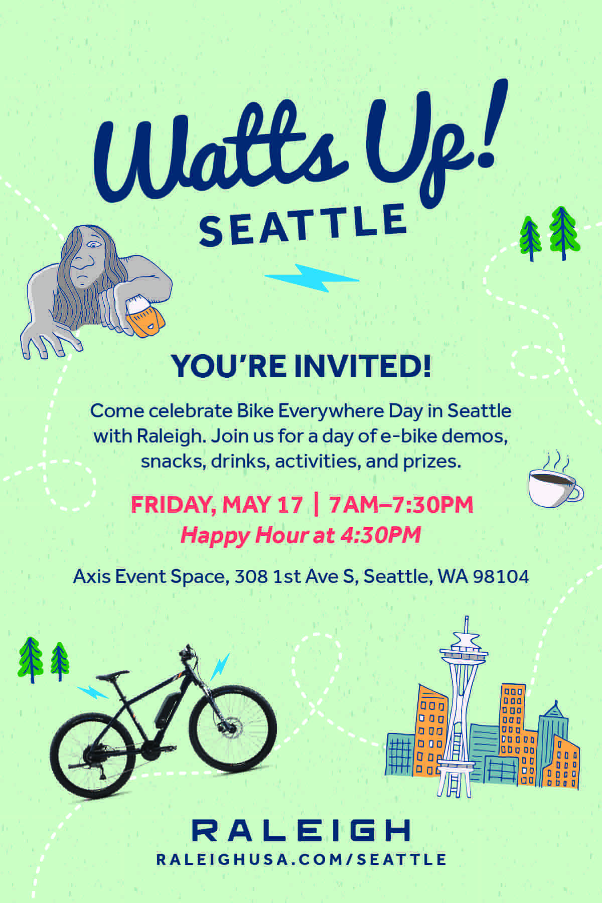Raleigh Seattle Pop-Up Cafe and E-Bike Demo