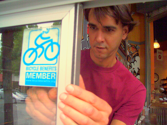 Look for the Bike Benefits decal in the window of your favorite business!