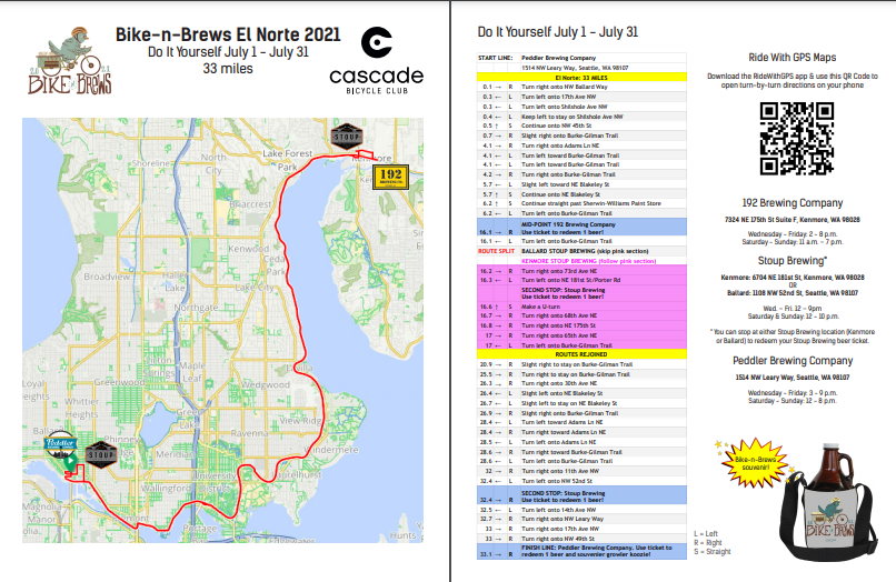 Preview of the map and cuesheet for the Bike-n-Brews El Norte route