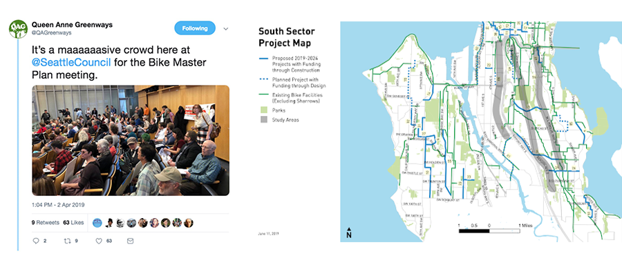 Tweet from the Bike Master Plan Meeting at Seattle City Council and the resulting South Sector Bike Master Plan