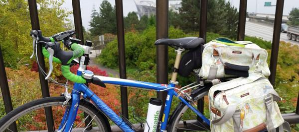 Bike rests against a rail overlooking the I-90 bridge