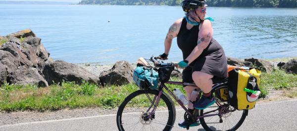 Marley Blonsky rides her bike