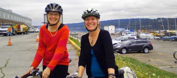 Elizabeth Kiker, ED of Cascade with Barb Chamberlain, ED of Washington Bikes