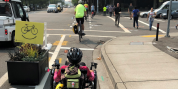 People biking in bike lane
